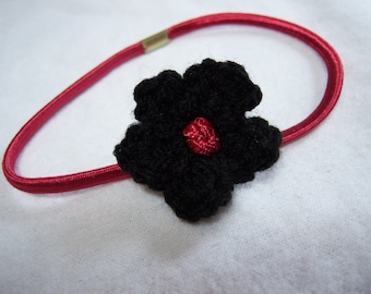 Red Headband with Black Crocheted Flower