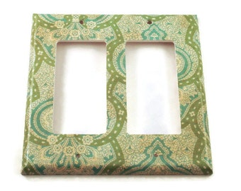 Double Rocker Light Switch Plate Blue and Green Wall Decor  Light Switchplate in  London   (189DR)