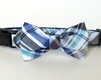 Blue Plaid Dog Collar Bow Tie set, plaid, pet bow tie, collar bow tie, wedding bow tie, pet photography