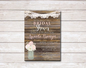 Rustic Lace Bridal Shower Invitation, Mason Jar Bridal Shower Invite, Vintage Bridal Shower, Rustic Bridal Shower, Printable, Printed