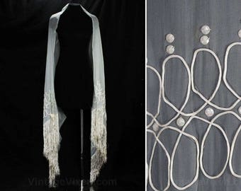 Sheer Silk Scarf - 1950s Gray Blue Chiffon Formal Shawl Wrap - Ivory Soutache & Pearlescent Cabochons - Fringe - 50s Evening - 49390