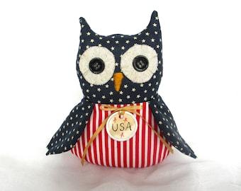 Prim Owl decor | Patriotic Hoot Owl | 4th of July decor | Red white blue Owl | USA decor | Americana Owl | Patriotic decor | Primitive decor