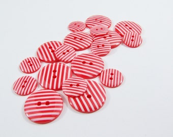Candy Stripe Buttons - Red [B0019] Sewing Buttons / Knitting Buttons / Craft Buttons / Button Supplies UK