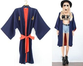Vintage Kimono Jacket Japanese Silk Kimono Robe 70s Kimono Festival Kimono Boho Kimono Duster Jacket Beach Kimono Vintage Boho Clothing