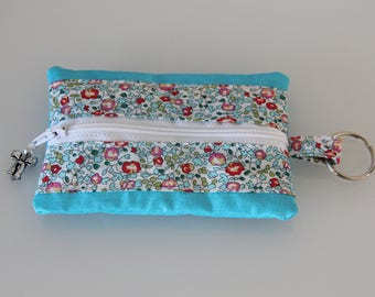 Wallet in coated teal blue and Liberty charm