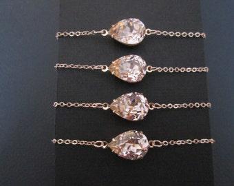 SET OF 3,4,5 6 Rose Gold Swarovski Crystal Bracelet/Rose Gold Bracelet/Rose Gold Bridesmaid Jewelry/Swarovski Bracelet/Bridesmaid Bracelet