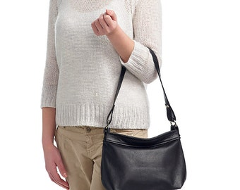 Leather hobo bag - Black leather bag - Soft leather bag -SMALL HELEN
