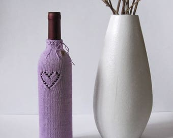 Wine bottle sweater cover Wine bottle cozy Wine bottle cover Knitted wine bottle decoration Valentine's day Home décor AnaValenArt Gift idea