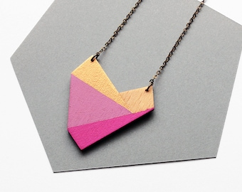 Geometric heart shape necklace, wooden nekclace - pink, purple, gold - minimalist, modern jewelry