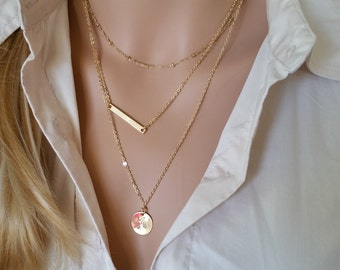 Monogram Gold Layering Necklace, Layered Necklace, Skinny Bar Stacking Necklace Stacked Necklace Layer Necklace Multi Strand Necklace Bar 26