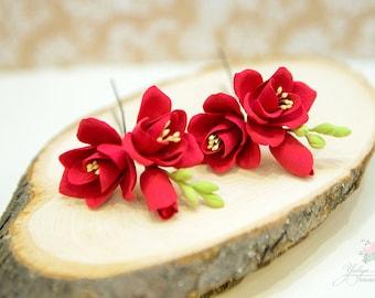 Set of 2 hair pins, Red Freesia,  Floral head piece, Red hair flower, wedding hair flowers, Bridal hair flower