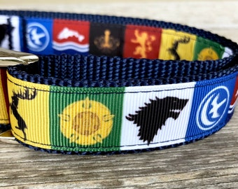 """House Stark 1"""" Wide Dog Collar or Leash, Game of Thrones Inspired Dog Collar, Winterfell Dog Collar, GoT Banner Sigil, Winter is Coming"""
