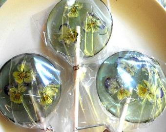 Gourmet, Lavender Flavored, Edible Violas, Giant Lollipops, Barley Water, 3