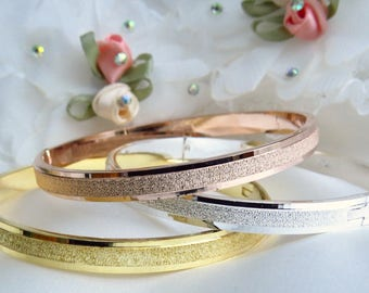 CLOSE OUT! 10 EACH, plain stainless steel bracelet, gold, silver, rose gold bangles, stainless steel bangles, textured hinged bracelets