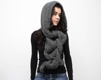 Hooded Scarf. Long Scarf. Wool Scarf. Chunky Scarf. Scoodie Scarf. Wool grey Scarf. hooded scarf black hooded scarf women. hooded scarf man