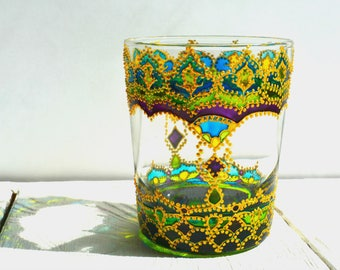 Moroccan Decor, Glass Candle Holder, Bohemian Decor, Candle Votive, Tealight Holder, Summer Gift, Moroccan Party, Makeup Storage, Organizer