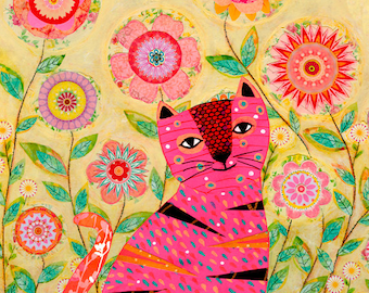 Pink Cat with Butterfly  Painting, Cat Art Print