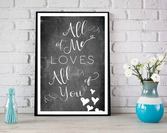 All of Me Loves All Of You Chalkboard Image