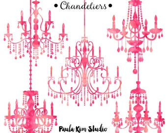 Pink Watercolor Chandelier Silhouette Clipart, Chandelier Clip Art, Wedding Invitation Clipart, Commercial Use
