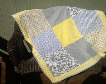 SALE!! Just one left! Was 95.00. Chevrons, Circles and Swirls! A unique gift for the new little nursery quilt or playmat.  Butter yellow, gr