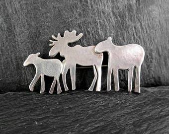 Sterling Silver Moose Family Brooch | Vintage Pin