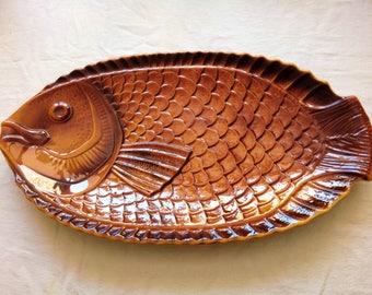 Vintage French Sarreguemines art workshop - 70s ceramic fish dish