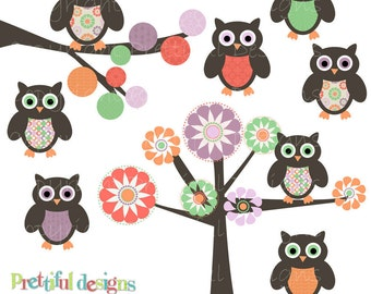Owl Clip Art Spring Clipart for Commercial Use