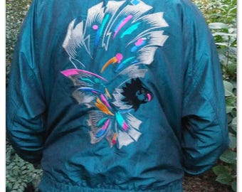 Iridescent Blue Bomber Jacket (Embroidered) (Used) (Great Condition)