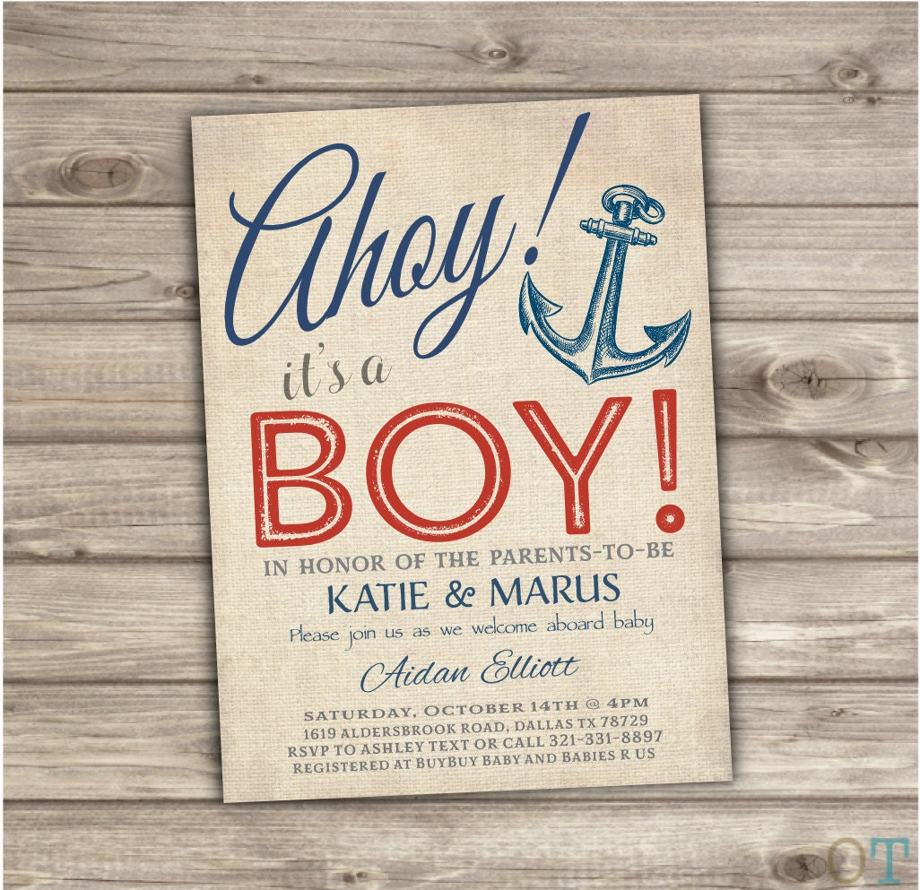 Nautical Baby Shower Invitations Navy Red Stripes Summer Theme