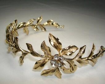 Gold bridal Headband, gold wedding headband, wedding headband, wedding headpiece, vintage headband, gold headband, gold headpiece