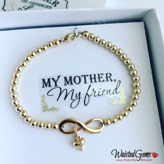14k Gold Infinity Gold Beaded Bracelet or Anklet, Gifts for her, Birthday Gift, Mothers Day Gifts, Bridesmaids gifts, Infinity Bracelet
