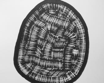 """14 x 14 Original Hand Painted Modern Abstract Black and White Ink Painting """" Untitled 2004"""""""