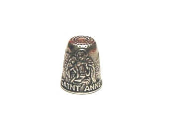 Saint Anne Thimble Patron Saint of Mothers, Grandmothers, Housewives Pewter Collectors Thimble