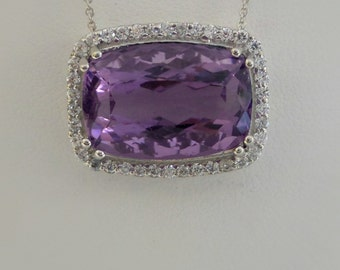 Genuine Amethyst Pendant with Diamonds/  Sterling Silver Genuine Amethyst Pendant with Diamonds/ Amethyst Statement Pendant
