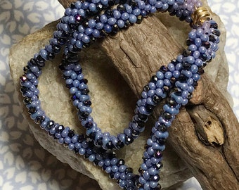 Purple Bead Bracelet Double Wrap Bracelet Purple Wrap Bracelet Bead Weave Bracelet Beaded Wrap Bracelet Simple Wrap Bracelet