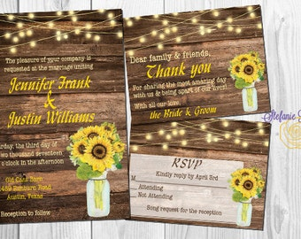 Rustic Sunflower and Wood Wedding Invitation Set: Invite, RSVP and Thank You • Digital