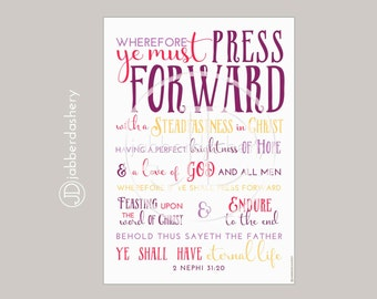 Press Forward Saints Purple Color Four Sizes Typography 2016 LDS Mutual Theme Poster Binder Covers Mormon Art Subway