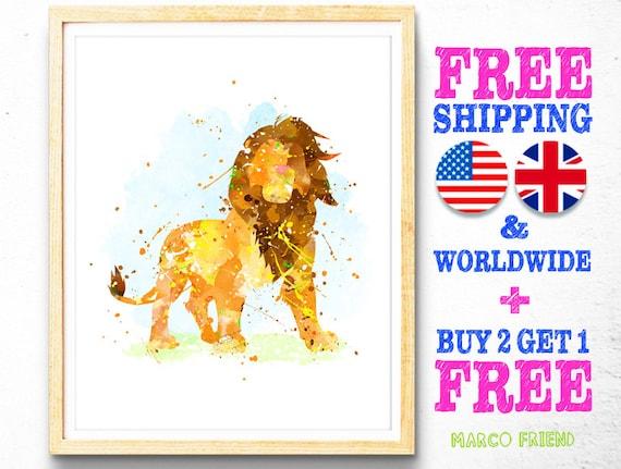 Lion King Home Decor: Disney Lion King Watercolor Art Print Poster Home Decor
