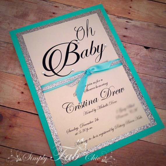 Custom handmade tiffany turquoise silver glitter baby shower like this item filmwisefo Choice Image