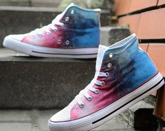 High top hi tops sneakers white canvas shoes colorful street style dandelion tie dye gradient pink blue white cool cute light colors ombre
