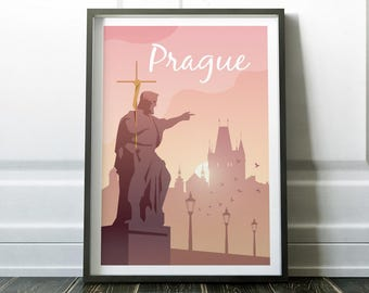 Prague Poster, Prague Print, Travel Print, Wall Art Print, Prague Art, Travel Poster, Minimalist Travel Art, Minimalist Print, Wall Art, Art
