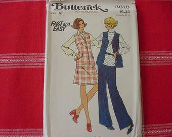 1970s Butterick Pattern 3618,  Misses' Semi-Fitted, Sleeveless Vest, Flared Skirt, Straight Legged Pants, Size 16, Bust 38, Uncut