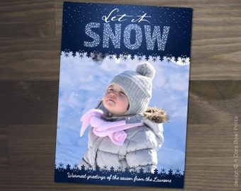 "Christmas Photo Card: ""Let It Snow"" Holiday Family Card, Photography Photoshop template, 5x7"" printable, snowflakes card, INSTANT DOWNLOAD"
