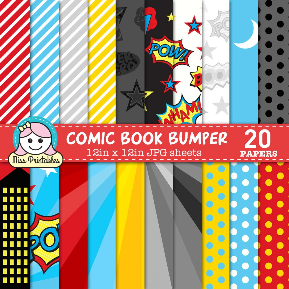 Comic book superhero digital paper pack printable pattern designs comic book superhero digital paper pack printable pattern designs for diy craft scrapbooking instant download 12 x 12 comic book jeuxipadfo Image collections