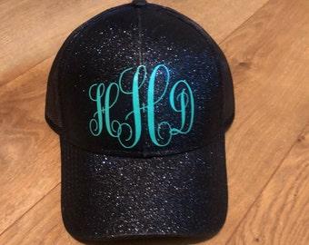 Custom ponytail hat, Glitter Ponytail cap, Glitter ponytail hat, Glitter cc cap, Glitter messy bun hat, Glitter messy bun cap, Monogram Hat