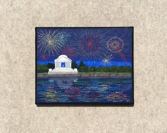 Fireworks at the Tidal Basin, 11x14 inches, original sewn fabric artwork, handmade, freehand appliqué, ready to hang canvas