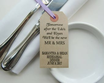 After the I Do's-Rehearsal Table Decor-Rehearsal Dinner Ideas-Rehearsal Napkin Ties-Weddings-Rehearsal Dinner Decorations-Wedding Rehearsal
