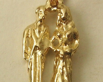 Genuine SOLID 9K 9ct YELLOW GOLD Bride and Groom charm/pendant