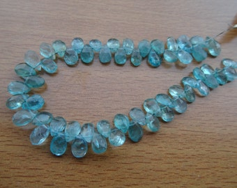 Natural  Blue Apatite Briolette Pears6-9mm 40 Pcs  strand AA quality