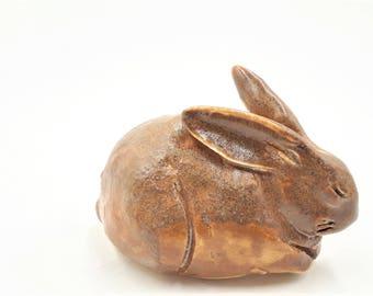 Little brown rabbit - porcelain hand sculpt